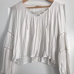 Hollister lace up linen top w/ flare sleeves